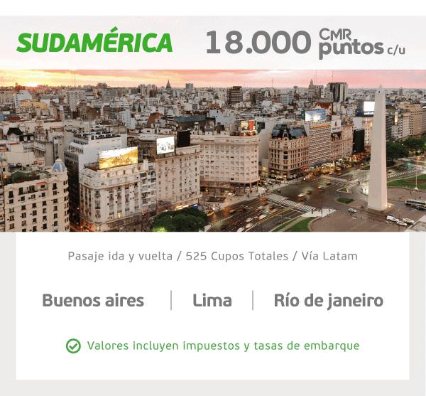 SUDAMÉRICA Buenos Aires, Lima y Río de Janeiro. 18.000 CMR Puntos c/u Pasaje ida y vuelta  /  Vía LATAM  /  525 cupos totales